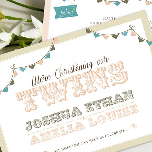 Twin Christening Invites