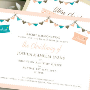 Twin Christening Invites